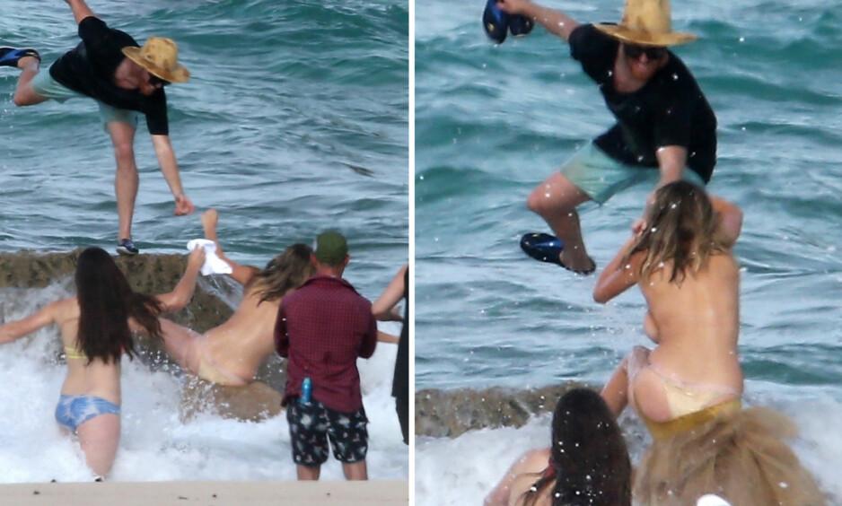 TATT AV «BØLJAN BLÅ»: Det ble for mye forSupermodellen Kate Upton da en stor bølge skylte over henne under en fotoshoot i Aruba. Foto: Stella Pictures