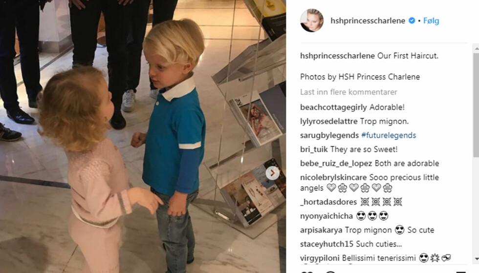 FØRSTE HÅRKLIPP: Prinsesse Charlene publiserte et bilde av tvillingene etter at de hadde hatt sin første tur til frisøren. Foto: Instagram