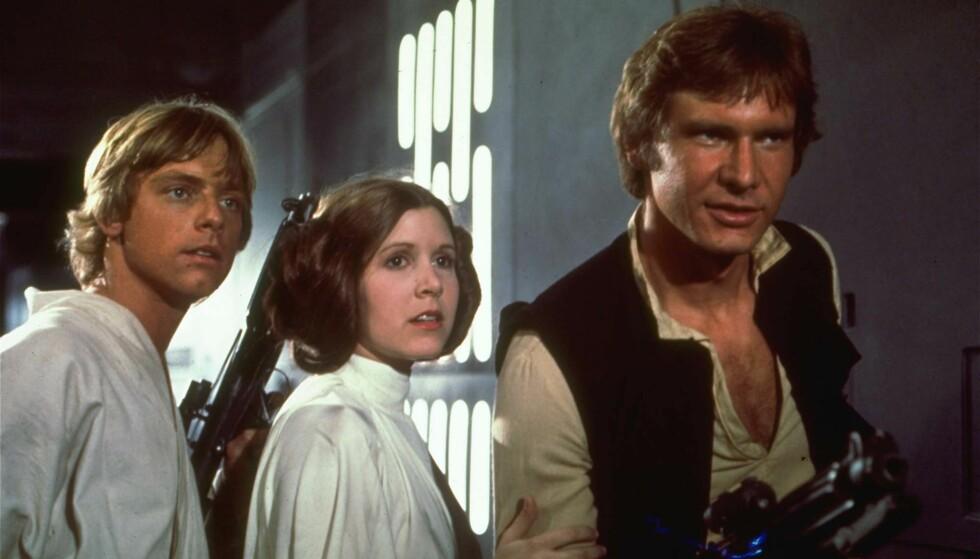 STJERNETRIO: Mark Hamill, Carrie Fisher og Harrison Ford ble verdensberømte gjennom sine roller i «Star Wars»-filmene på 70- og 80-tallet. Foto: NTB Scanpix