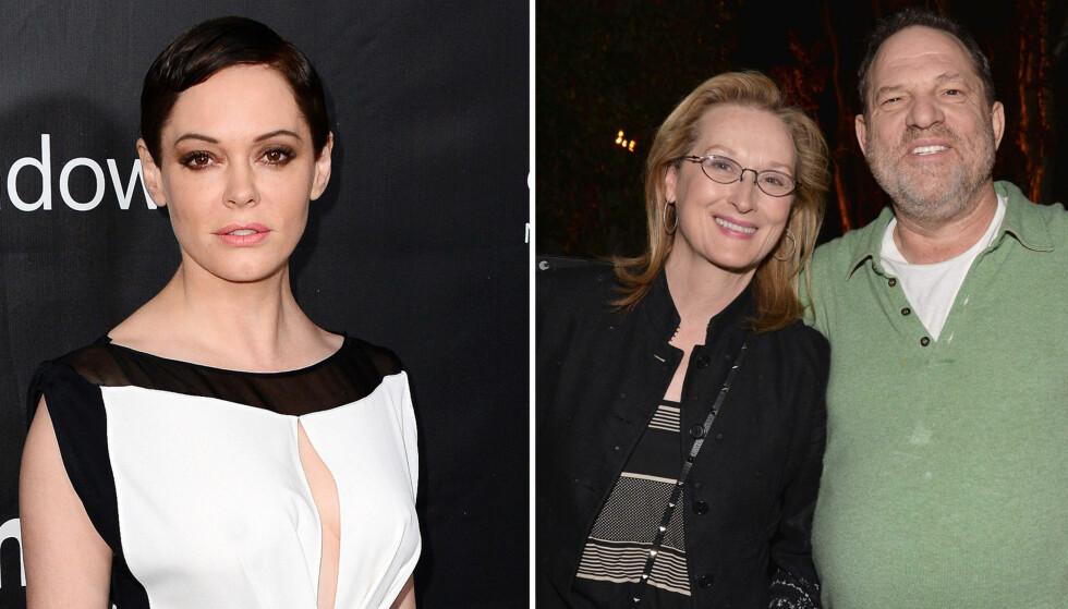 <strong>STØTTE ETTER SLAKTEN:</strong> Rose McGowan (t.v.) fyrte løs mot blant andre Meryl Streep (t.h.) i helgen, men nå tar Oscar-vinneren McGowans parti - og angriper filmprodusent Harvey Weinstein (ytterst t.h.) hardere enn noen gang. Foto: NTB scanpix