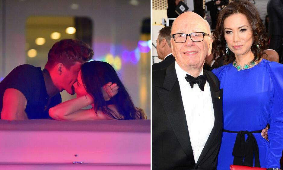 ALDER INGEN HINDRING: Tidligere denne måneden ble Wendi Deng sett kyssende med 21 år gammel modell. Tidligere har hun vært gift med Rupert Murdoch (86). Foto: NTB Scanpix