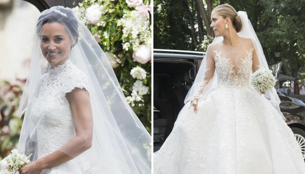 BRUDEKJOLER: Pippa Middleton og Victoria Swarovski er blant stjernene som giftet seg i år med imponerende kjoler. Foto: NTB Scanpix
