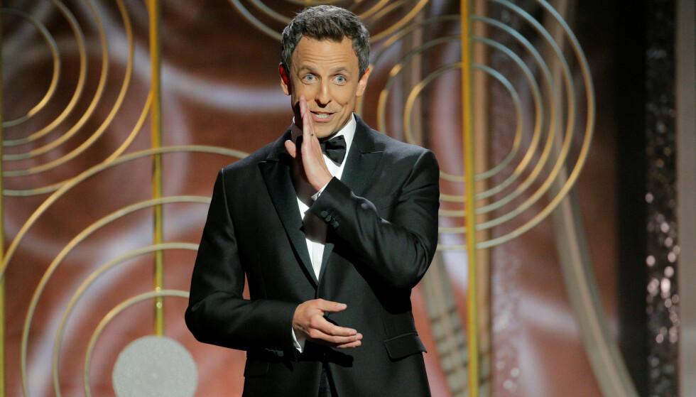 <strong>PROGRAMLEDER:</strong> Seth Meyers leder Den 75. Golden Globe-utdelingen. Foto: NTB Scanpix