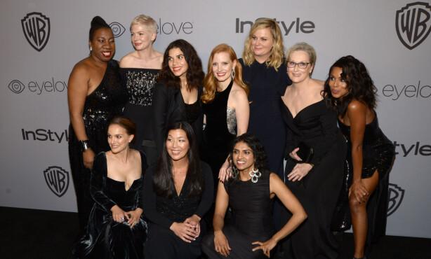 GIRLPOWER: Under årets Golden Globe samlet kvinner seg i kampen mot seksuell trakassering i bransjen - og lik lønn for likt arbeid. Foto: NTB Scanpix