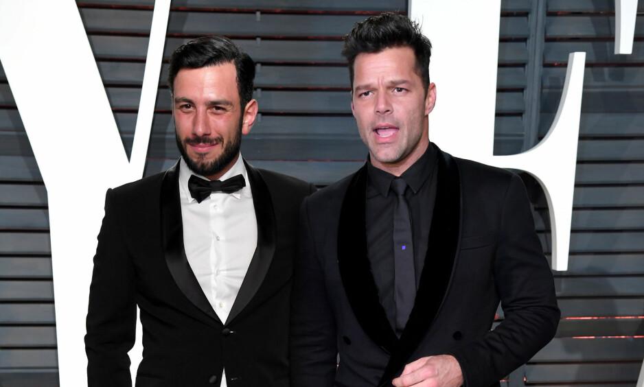 LYKKELIGE: Jwan Yosef og Ricky Martin avslører at de har giftet seg. Først om noen måneder skal bryllupet feires i storslagen stil. Foto: NTB Scanpix