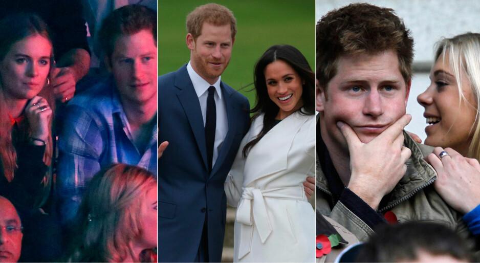 DROPPER EN EKS?: Ifølge UsWeekly vil prins Harry invitere ekskjæresten Chelsy Davy (t.h.) når han og Meghan Markle gifter seg i mai, men droppe sin forrige eks - Cressida Bonas (bildet t.v.). Foto: NTB scanpix