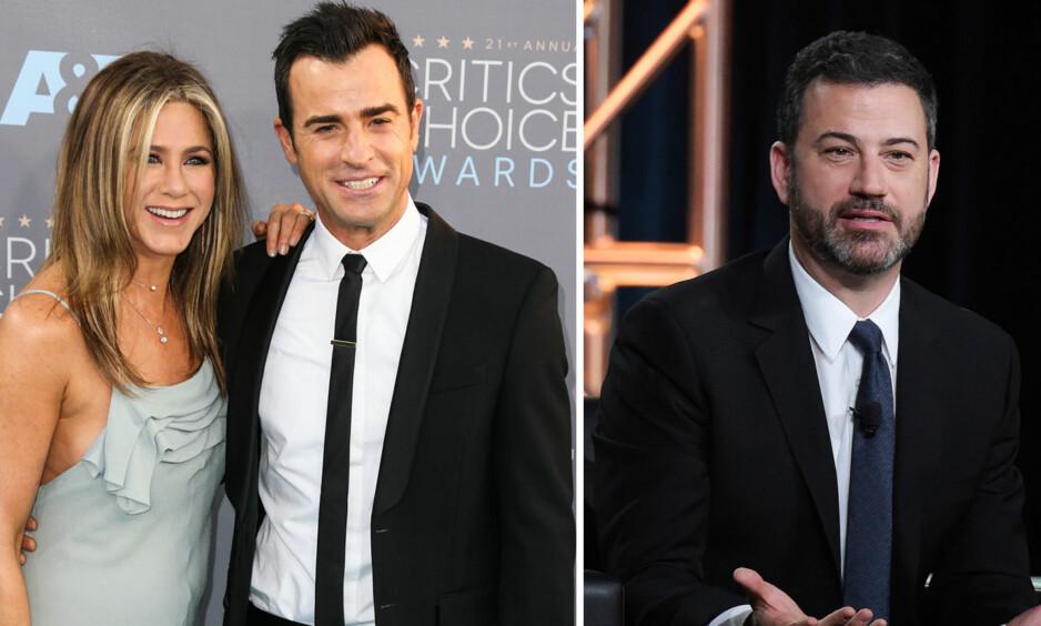 BESKYTTENDE: Talkshow-verten Jimmy Kimmel er en nær venn av skuespiller Jennifer Aniston, og han er veldig opptatt av at hun skal ha det bra. Foto: NTB Scanpix