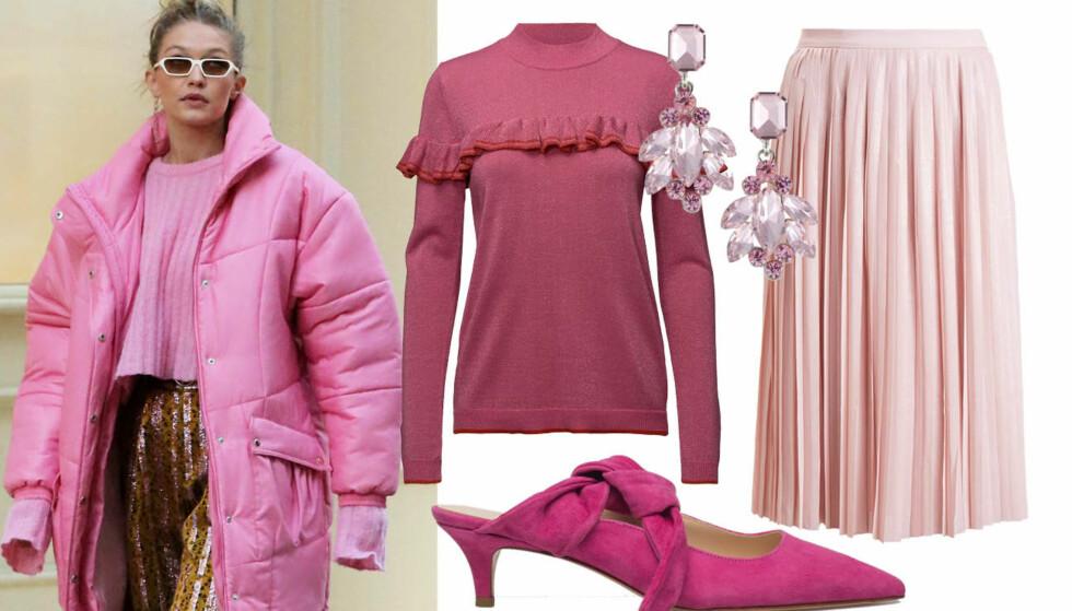 Gigi Hadid har dukket opp i en rekke rosa antrekk den siste tiden. Vi lar oss inspirere! Foto: NTB Scanpix