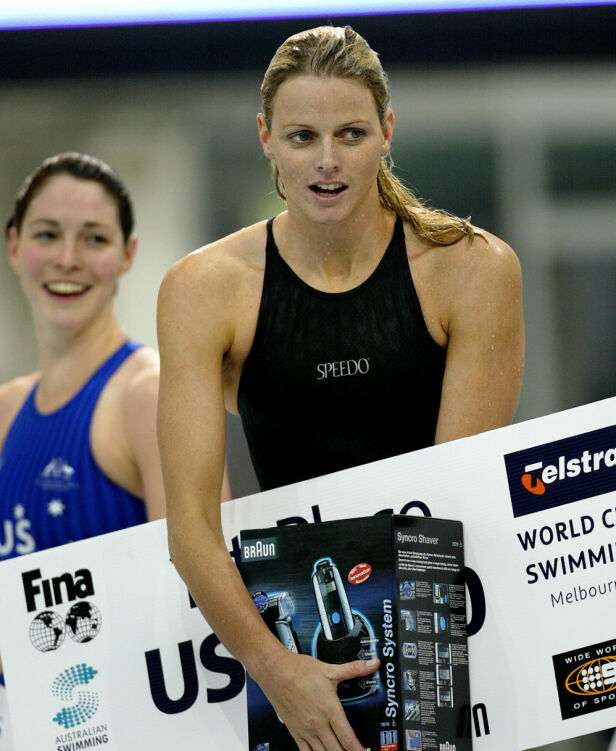 PROFF: Charlene er en rask svømmer, men konkurrerer ikke aktivt lenger. Her fotografert under et stevne i Melbourne i 2002. Foto: NTB scanpix