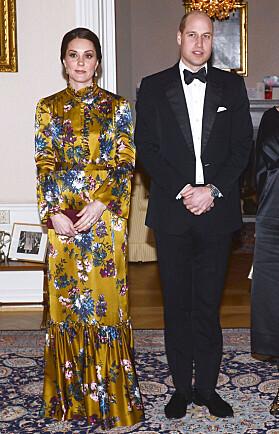 I GRØNT: Kate i en blomstrete Erdem-kjole i Stockholm. Foto: NTB scanpix