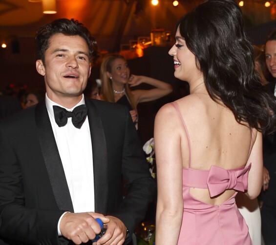 STARTEN PÅ EVENTYRET: Orlando Bloom og Katy Perry på Golden Globe-etterfest i janaur 2016. Det var etter denne kvelden romanseryktene først begynte å svirre rundt de to. Foto: Buckner/Variety/REX/Shutterstock/ NTB scanpix