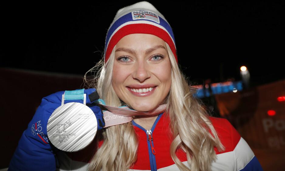 SØLV: Det ble norsk sølv til Norge i natt under Vinter-OL og alpinist Ragnhild Mowinckel leverte som aldri før. Foto: NTB Scanpix