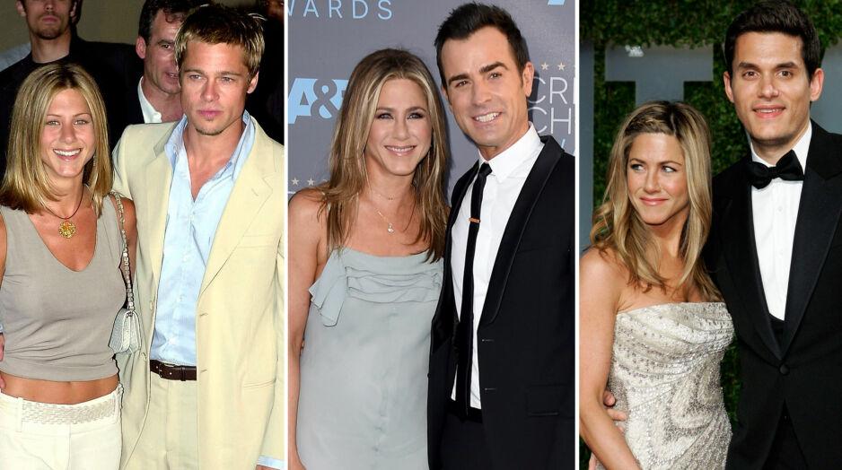 PROFILERTE FORHOLD: Filmstjernen Jennifer Aniston har hatt et turbulent kjærlighetsliv. Fredag ble det kjent at hun og ektemannen Justin Theroux (i midten) skal skilles etter to og et halvt år som gift. Foto: NTB scanpix