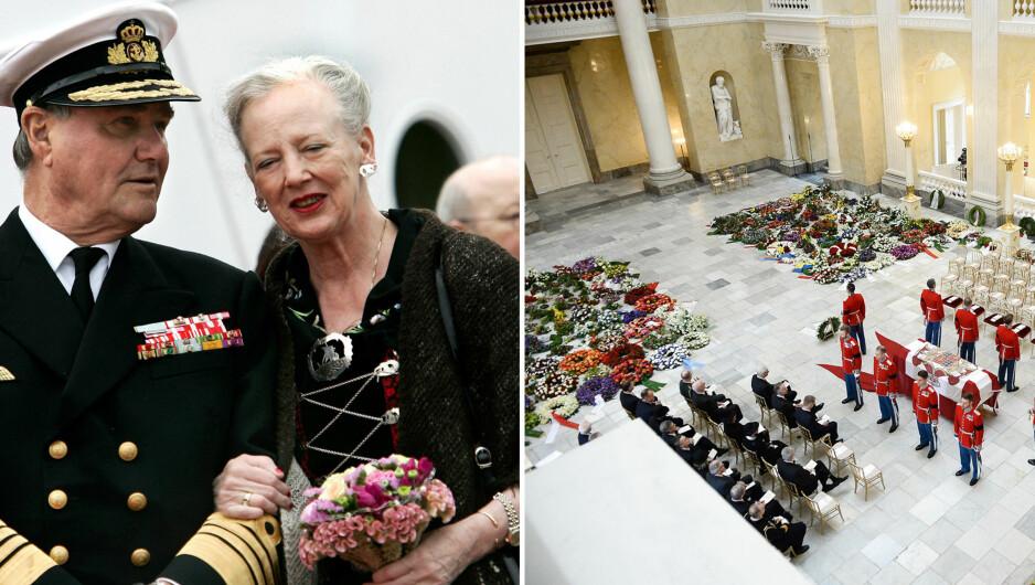 OVERRASKET KONA: Det danske kongehuset avslører at blomstene i prins Henriks bisettelse var en overraskelse fra prins Henrik selv. Foto: NTB scanpix