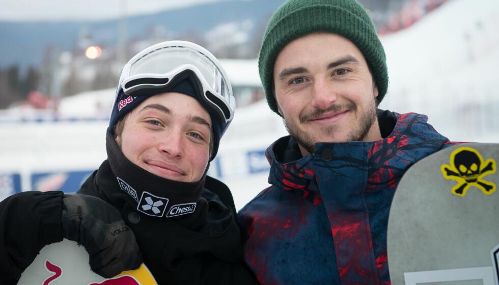 BARE EN I FINALEN: Torgeir Bergrem sammen med Marcus Kleveland (t.v.), som overraskende nok ikke gikk videre til helgens OL-finale i Big Air. Foto: Peter Gløersen / Snowboardforbundet/ NTB scanpix