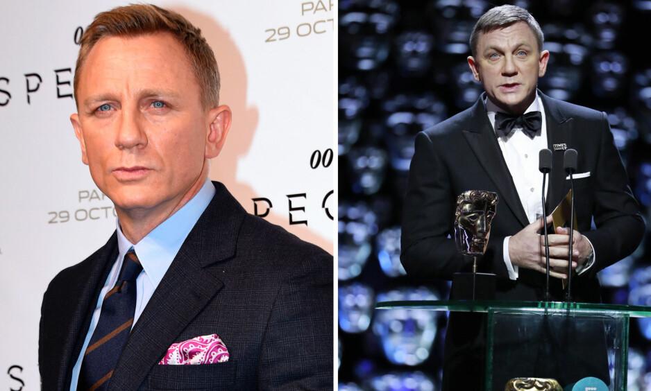 ENDRET PÅ UTSEENDET?: Etter at skuespiller Daniel Craig dukket opp under BAFTA Awards (t.h.) har fansen spekulert i om James Bond-stjernen har tydd til plastisk kirurgi. På bildet til venstre er han avbildet i 2015. Foto: NTB Scanpix