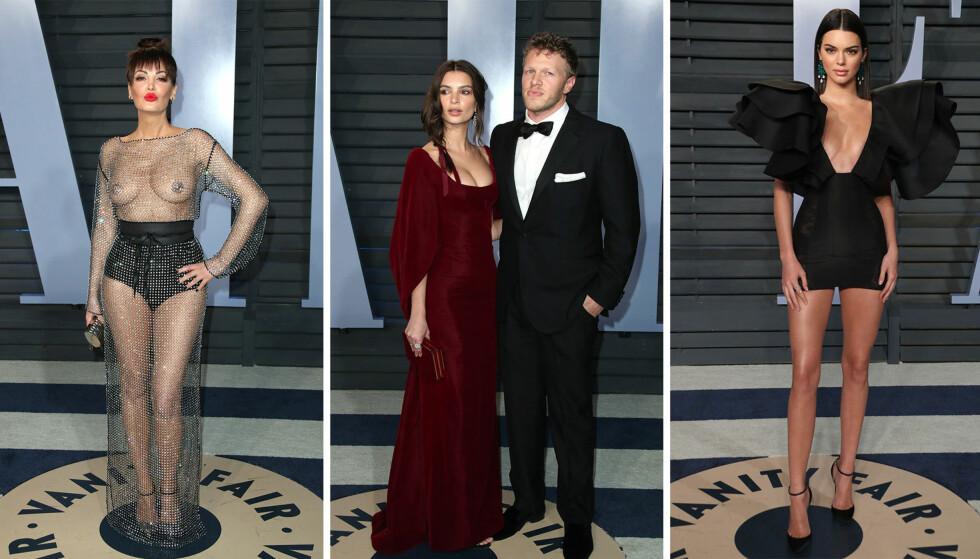 OVERRASKET: Bleona Qereti (t.v.) og Kendall Jenner (t.h.) var blant gjestene som viste mest hud på Vanity Fairs Oscar-fest, mens Emily Ratajkowski overrasket ved å vise frem sin «hemmelige» ektemann. Foto: NTB scanpix