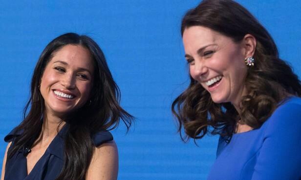 KOMMER OVERENS: Meghan Markle og hertuginne Kate under konferanse i regi av «The Royal Foundation» nylig. Foto: REX / Shutterstock