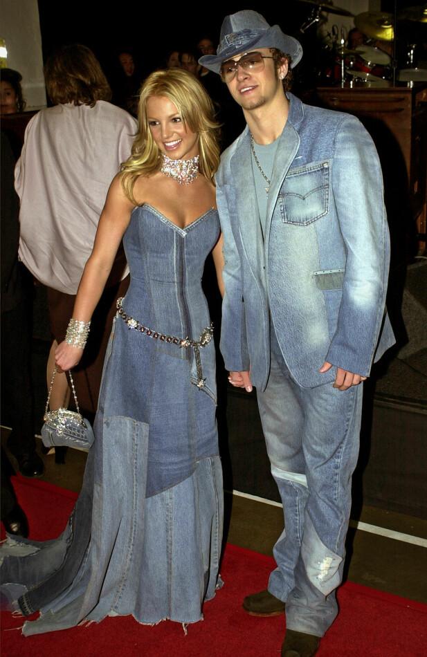 <strong>IKKE GLEMT:</strong> Det er over 15 år siden det tidligere superparet Britney Spears og Justin Timberlake stilte på den røde løperen med matchende denim-antrekk. Foto: NTB scanpix