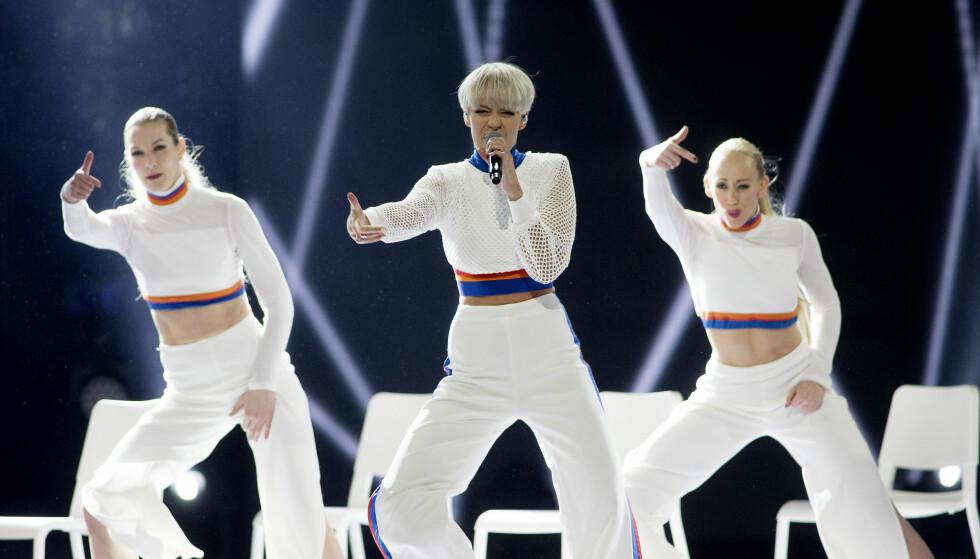 <strong>DANSEDRONNING:</strong> Nicoline med imponerende dans under hele låta. Foto: Anita Arntzen / Dagbladet