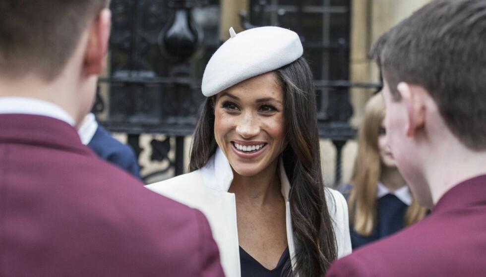 ALPELUE: Meghans hodeplagg var ifølge mange en hyllest til avdøde prinsesse Diana. Foto: NTB Scanpix