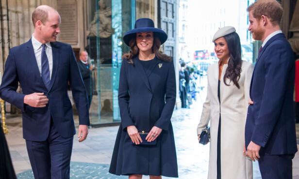 FØDEKLAR: Høygravide Kate var også med under det offisielle oppdraget. Hun strålte i et blått antrekk. Foto: REX / Shutterstock