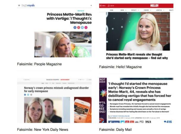 SKAPTE OVERSKRIFTER: Mette-Marits intervju om krystallsyken fant veien til blant annet People, Hello! Magazine, New York Daily News og Daily Mail. Foto: Faksimiler fra nettstedene