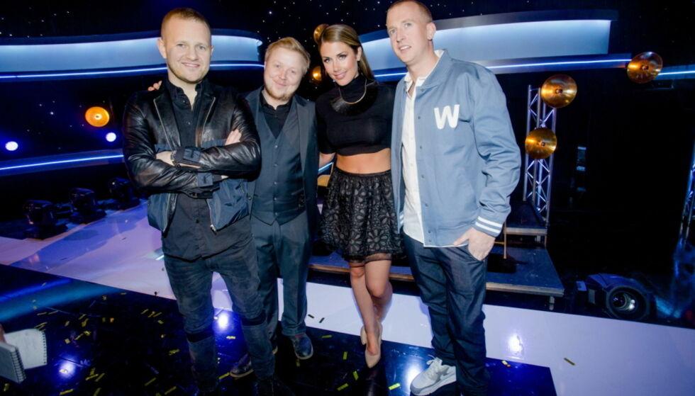 TILBAKE TIL START: I to sesonger av «Idol» var 30-åringen dommer. Her med Esben «Dansken» Selvig, Kurt Nilsen og Gunnar Greve. Foto: NTB scanpix