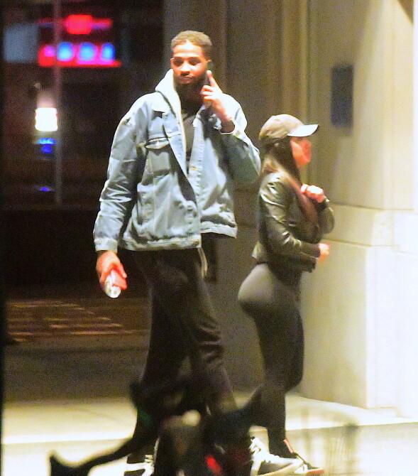 PÅ FERSKEN: Tristan Thompson på vei inn på et hotell med en ukjent kvinne, kun et par dager før Khloé Kardashian fødte parets første datter. Foto: Splash News/ NTB scanpix