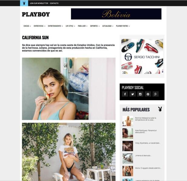 PÅ NETTET: På nettutgaven til Playboy Argentina ligger det stadig en rekke modellbilder av Juliane Snekkestad. Denne skjermdumpen ble tatt tidlig mandag ettermiddag. Foto: Faksimile fra www.playboyrevista.com