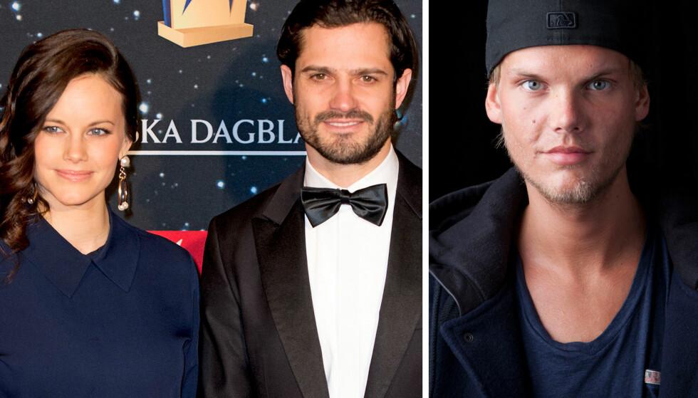 <strong>FANS AV AVICII:</strong> Prins Carl Philip og prinsesse Sofia var store fans av den svenske artisten Avicii, som blant annet spilte i bryllupet deres i 2015. Nå hedrer prinseparet den avdøde artisten. Foto: Abaca/ NTB Scanpix.