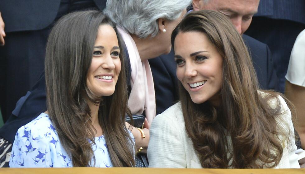 BESTEVENNER: Søstrene Pippa og Kate er svært nær hverandre, og skal etter sigende ha drømt om å gå gravide sammen. Nå ser det ut til at drømmen har blitt oppfylt, selv om hertuginnens termin er nært forestående. Foto: NTB scanpix