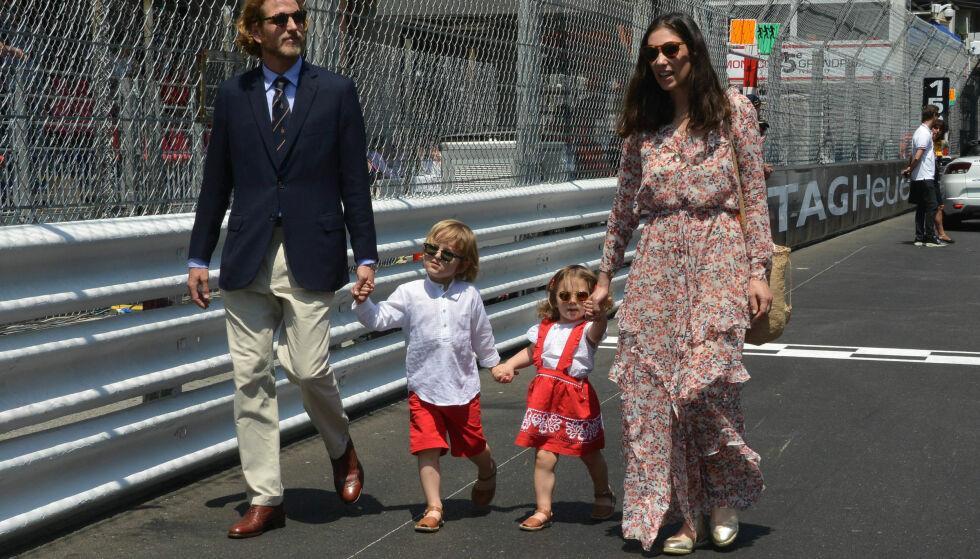 FIRE HAR BLITT FEM: Her er Andrea og Tatiana sammen med sønnen og datteren under F1 Monaco Grand Prix i Monte-Carlo i fjor vår. Foto: NTB Scanpix