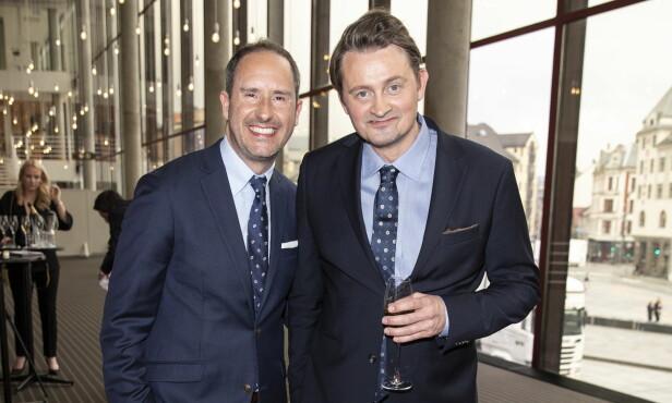 FAST DUO: Harald Rønneberg og Thomas Numme var i strålende humør da de ankom Grieghallen tidligere lørdag kveld. Da visste de enda ikke hva de hadde i vente. Foto: Andreas Fadum