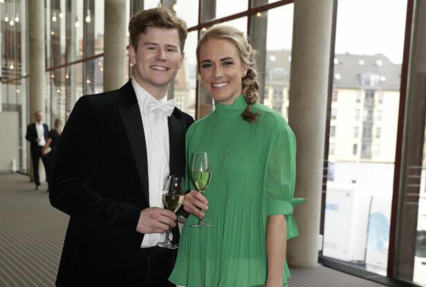 TOK MED KJÆRESTEN: Nicolay Ramm tok med Josephine Leine Granlie for første gang på den røde løperen under Gullruten i 2018. Foto: NTB Scanpix