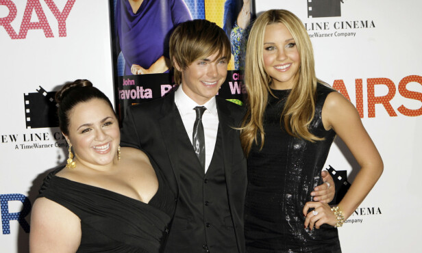 <strong>GODE VENNER:</strong> Nikki Blonsky, Zac Efron og Amanda Bynes under premieren av «Hairspray» i 2007. Foto: NTB Scanpix.