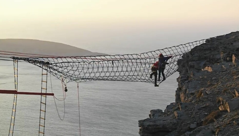<strong>HØYT:</strong> I kjent stil ble finalen avholdt på Nordkapp, og deltakerne måtte også dette året ut i det beryktede nettet. Foto: Discovery