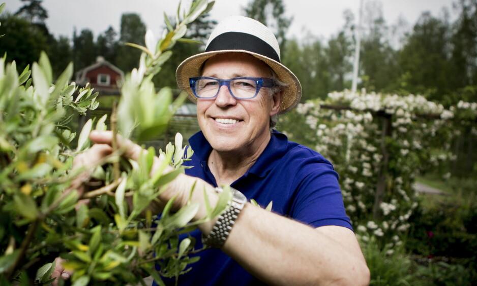 BURSDAG: Finn Schjøll fyller 70 år 17. mai. I dag hylles han av sine kolleger. Her i drivhuset sitt ved sommerhuset i Sverige. Foto: Christian Roth Christensen / Dagbladet