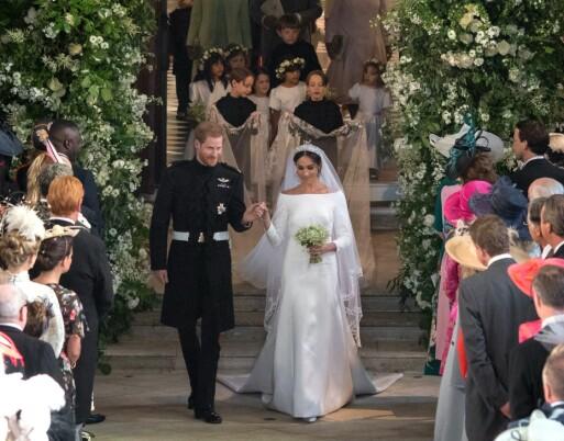 SYMBOLSK SLØR: Meghan Markles lange slør har en spesiell historie, avslører Kensington Palace. Foto: NTB scanpix