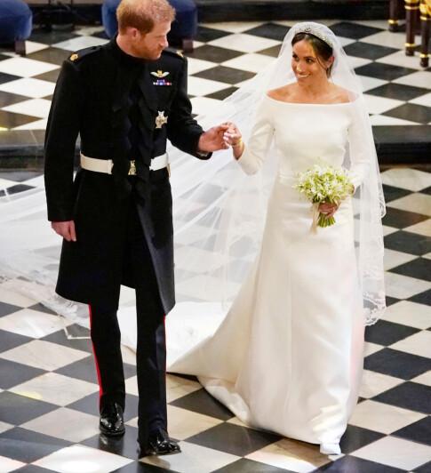 STILREN: Meghan Markle gikk for en svært enkel brudekjole som minnet om brudekjolene til både kronprinsesse Mette-Marit og kronprinsesse Victoria. Foto: NTB scanpix