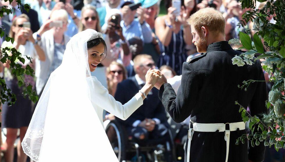 HERTUGPARET: Den amerikanske skuespilleren Meghan Markle giftet seg lørdag med prins Harry. Markle er nå hertuginne av Sussex, og prins Harry er hertug av Sussex. Foto: NTB scanpix