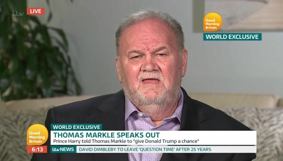 FRITTALENDE: Thomas Markle (73), faren til hertuginne Meghan (36), drar inn intervjuet han gjorde med «Good Morning Britian» forrige uke (på bildet) i et nytt intervju, der han sender et saftig stikk til den britiske kongefamilien. Foto: NTB Scanpix