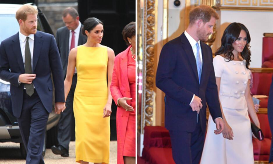 FORVIRRER: Hertuginne Meghan og prins Harry har skapt forvirring hos fansen etter at de torsdag kom leiende hånd i hånd, etter at de uken før lagde rabalder i tabloidene med et noe rart kroppsspråk i dronningens nærvær. Foto: NTB Scanpix