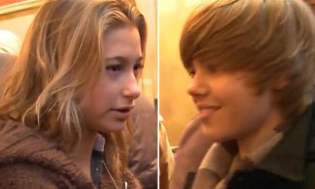 FØRSTE MØTET: I 2009 møtte Hailey Baldwin sitt store idol, Justin Bieber. Nå, ni år seinere, er duoen forlovet. Foto: Skjermdump