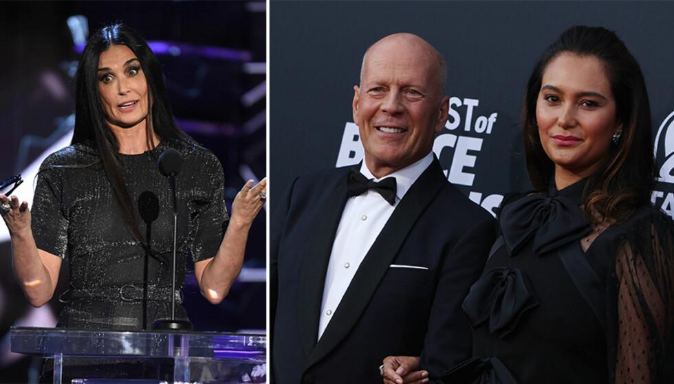 HARSELERTE: Lørdag kveld ble det arrangert en Bruce Willis-«roast» på Comedy Central i Los Angeles. Mange sperret opp øynene da ekskona til kveldens hovedgjest plutselig sto på scenen. Fra venstre: Demi Moore, Bruce Willis og sistnevntes kone, Emma Heming. Foto: NTB Scanpix