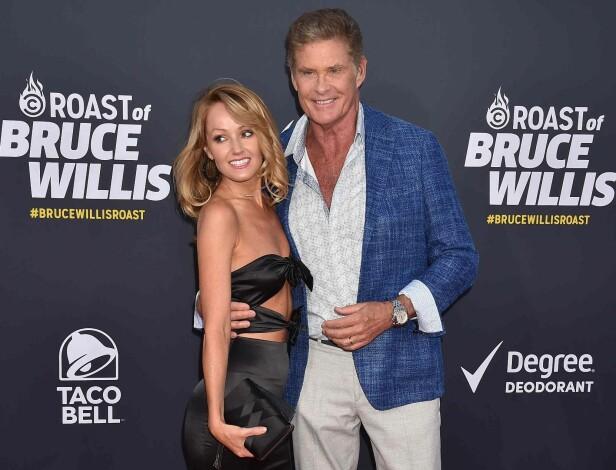 <strong>FORLOVET:</strong> David Hasselhoff og forloveden Hayley Roberts tidligere denne måneden. Foto: NTB scanpix