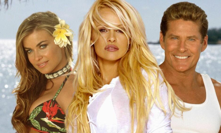 <strong>TURBULENT LIV:</strong> David Hasselhoff har blitt berømt for flere ulike roller og fansen har falt som fluer for ham på veien. Her fra filmen Baywatch: Hawaiian Wedding fra 2003 med Carmen Electra og Pamela Anderson. Foto: NTB Scanpix