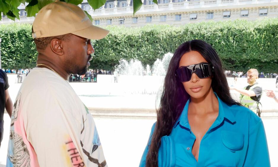 SYK: Kim Kardashian West måtte kjøre ektemannen, Kanye West, til legevakten da han følte seg dårlig. Foto: NTB Scanpix