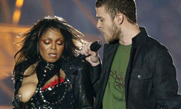 <strong>SKANDALE:</strong> Etter pauseshowet under Super Bowl i 2004, sørget Justin Timberlake og Janet Jackson for overskrifter over hele verden. Foto: NTB Scanpix