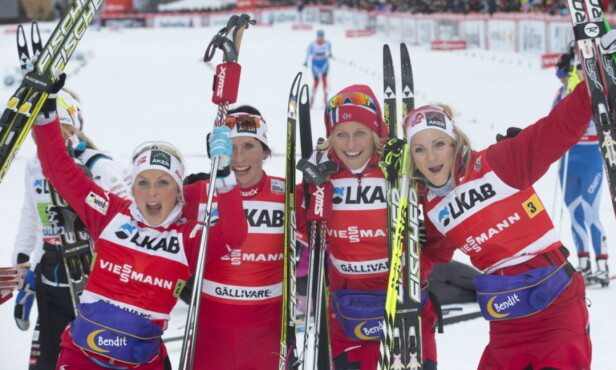 VANT SAMMEN: Therese Johaug, Marit Bjørgen, Vibeke Skofterud og Martine Ek Hagen vant sammen i staffett i Gällivare i 2012. Foto: NTB Scanpix